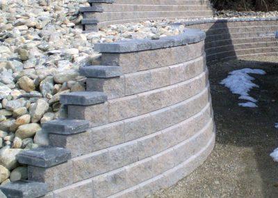 Allan Block Walls - earth tone color with charcoal caps